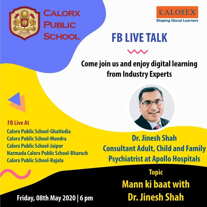 CPS  brings you, a series of powerful talks aimed at spreading thoughts from India's most inspired thinkers, with the community of curious minds to engage and connect with each other.  8th May Friday  -6 pm Live on www.facebook.com of CPS schools.  #cps #Fblive #Parents #Students #learning #Engagement #Education #IndustryExperts #kalorex #Yali HO !