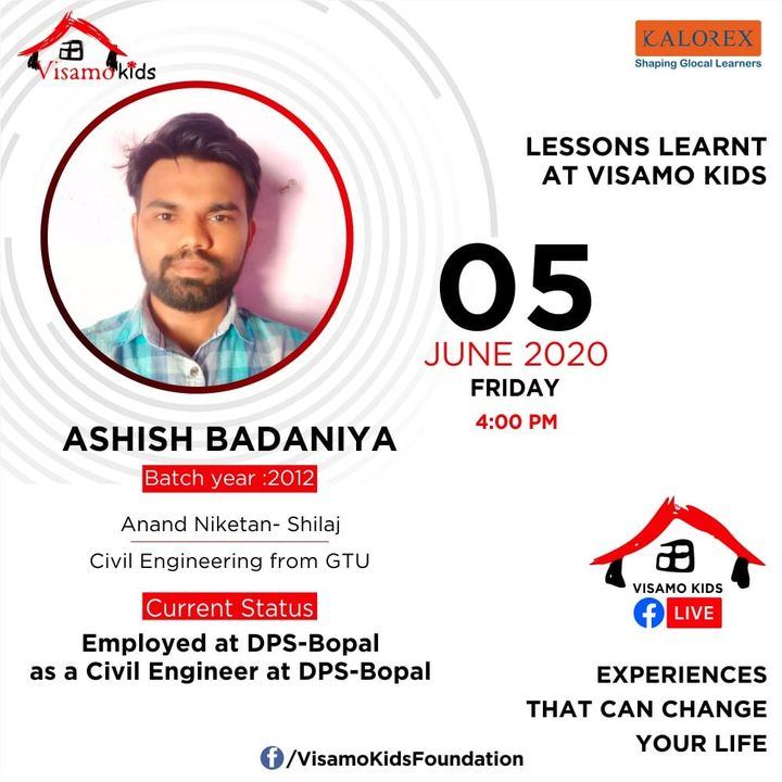 Visamo Kids Foundation, a shelter home for children from disadvantaged background, from across the state, is hosting a series of talks on this page from tomorrow evening. Ashish, an alumni of Visamo is sharing his life lessons learnt at and during his journey of twelve years at Visamo, from Class I, at the tender age of 6years, till completion of class XII. After stepping out of the institution, Ashish completed Civil engineering and is working as a freelancer. He believes in giving back to the society and is passionate about helping a Visamo kid.   Visamo strives towards empowering lives through access to quality education in partnership with the finest of the schools in the city, grassroots organizations and the community at large. Till date 36 children have graduated out after completing XII and are pursuing higher studies. Many have completed their studies and have started earning and supporting their families.   Come. Join the talks. Listen to their struggles, life lessons within  the shelter home, challenges and opportunities....  #Education #RTE #Empowerment #Kalorex #RighttoLife #SJISBopal