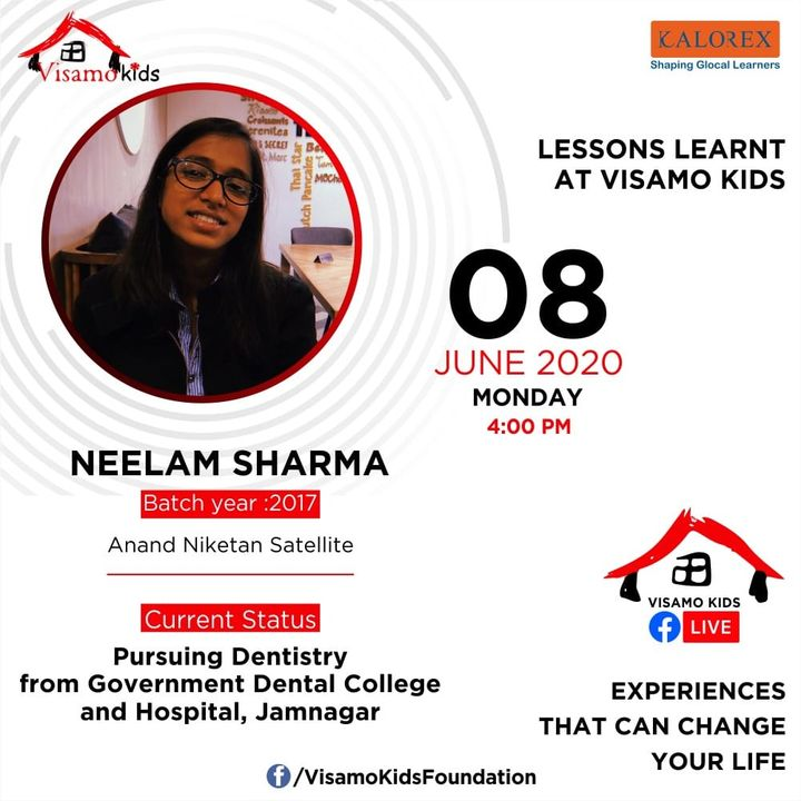 Visamo Kids Foundation, a shelter home for children from disadvantaged background, from across the state, is hosting a series of talks on this page.  Neelam, an alumni of Visamo is sharing her life lessons learnt at and during her journey of twelve years at Visamo, from Class I, at the tender age of 6years, till completion of class XII.   After stepping out of the institution, Neelam is studying dentistry at Jamnagar Government College, Gujarat.  She believes in giving back to the society and is passionate about supporting Visamo.   Visamo strives towards empowering lives through access to quality education in partnership with the finest of the schools in the city, grassroots organizations and the community at large. Till date 36 children have graduated out after completing XII and are pursuing higher studies. Many have completed their studies and have started earning and supporting their families.   Come. Join the talks. Listen to their struggles, life lessons within  the shelter home, challenges and opportunities....  #Education #RTE #Empowerment #Righttolife