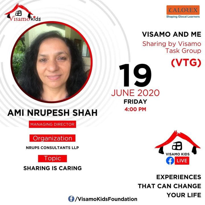 Visamo Kids Foundation- A shelter home in Ahmedabad, housing underprivileged kids across the state, brings to you all, VTG Talk, a series of powerful talks by Visamo task Group (VTG) members. VTG Talk Episode No. 5 is today, Friday, 19th June, 2020 Time: 4 pm Live on https://www.facebook.com/VisamoKidsFoundation Speaker: Ami Shah #education #ShareWithPride #empowerment #visampspeakseries