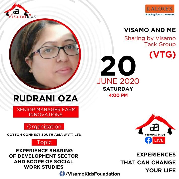 Visamo Kids Foundation- A shelter home in Ahmedabad, housing underprivileged kids across the state, brings to you all, VTG Talk, a series of powerful talks by Visamo task Group (VTG) members. VTG Talk Episode No. 6 is today, Saturday, 20th June, 2020 Time: 4 pm Live on https://www.facebook.com/VisamoKidsFoundation Speaker: Rudrani Oza #education #ShareWithPride #empowerment #VisamSpeakSeries