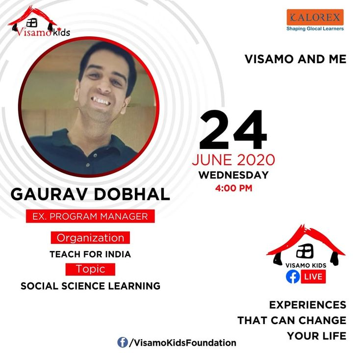 Visamo Kids Foundation- A shelter home in Ahmedabad, housing underprivileged kids across the state, brings to you all, Mentors' Talk, a series of powerful talks by Visamo Mentors.  Visamo Mentors' Talk Episode No. 4 is today, Wednesday, 24 June, 2020 Time: 4 pm Live on https://www.facebook.com/VisamoKidsFoundation Speaker: Gaurav Dobhal #education #ShareWithPride #empowerment #visamospeakseries