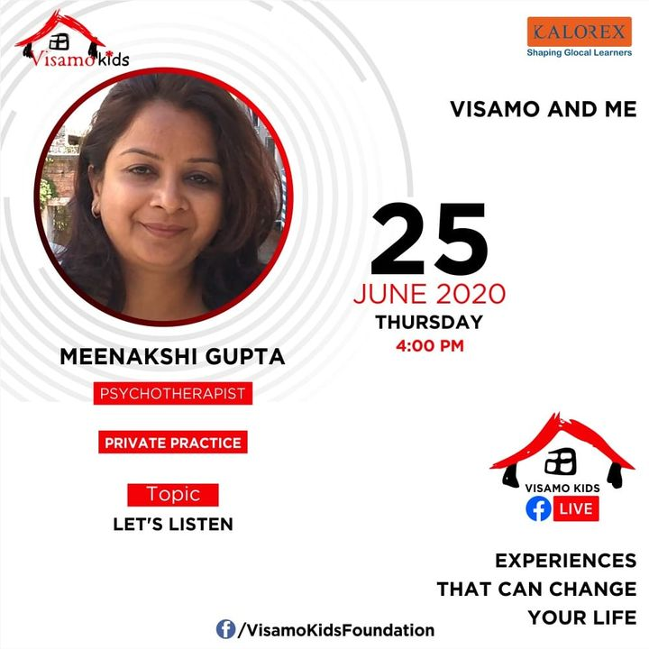 Visamo Kids Foundation- A shelter home in Ahmedabad, housing underprivileged kids across the state, brings to you all, Mentors' Talk, a series of powerful talks by Visamo Mentors.  Visamo Mentors' Talk Episode No. 5 is today, Thursday, 25 June, 2020 Time: 4 pm Live on https://www.facebook.com/VisamoKidsFoundation Speaker: Meenakshi Gupta #education #ShareWithPride #empowerment #visamospeakseries