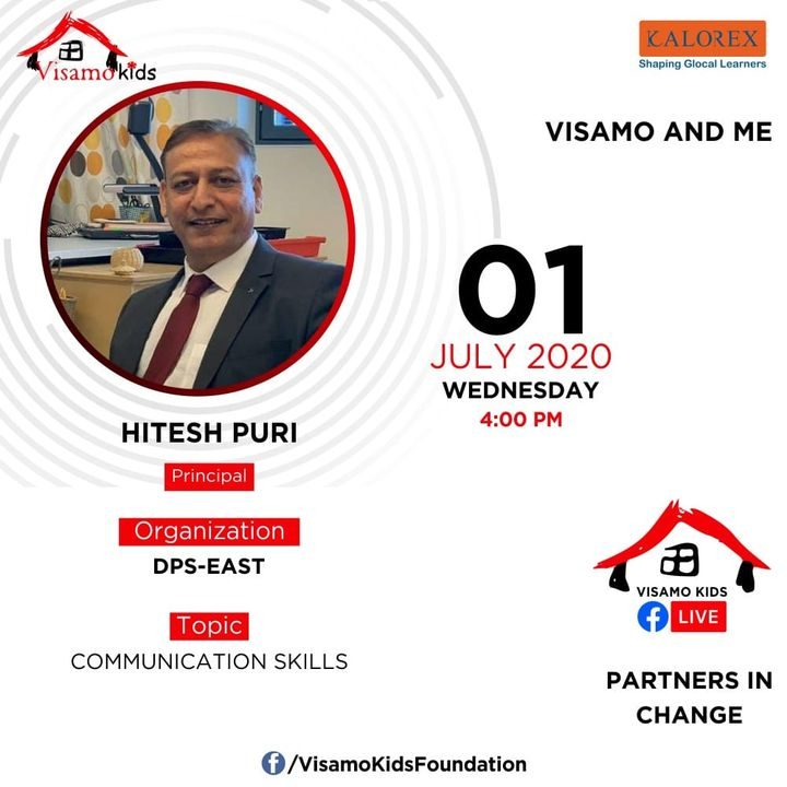 Visamo Kids Foundation- A shelter home in Ahmedabad, housing underprivileged kids across the state, brings to you all, a series of powerful talks by Visamo Parivaar.  Visamo Speak Series Episode No. 31 is on Wednesday, 1 July, 2020 Time: 4 pm Live on https://www.facebook.com/VisamoKidsFoundation Speaker: Mr. Hitesh Puri Topic- Communication Skills.   We are happy to announce the initiation of the Partners In Change Speak Series from today.  #education #ShareWithPride #empowerment #VisamoSpeakSeries #partnersinchange
