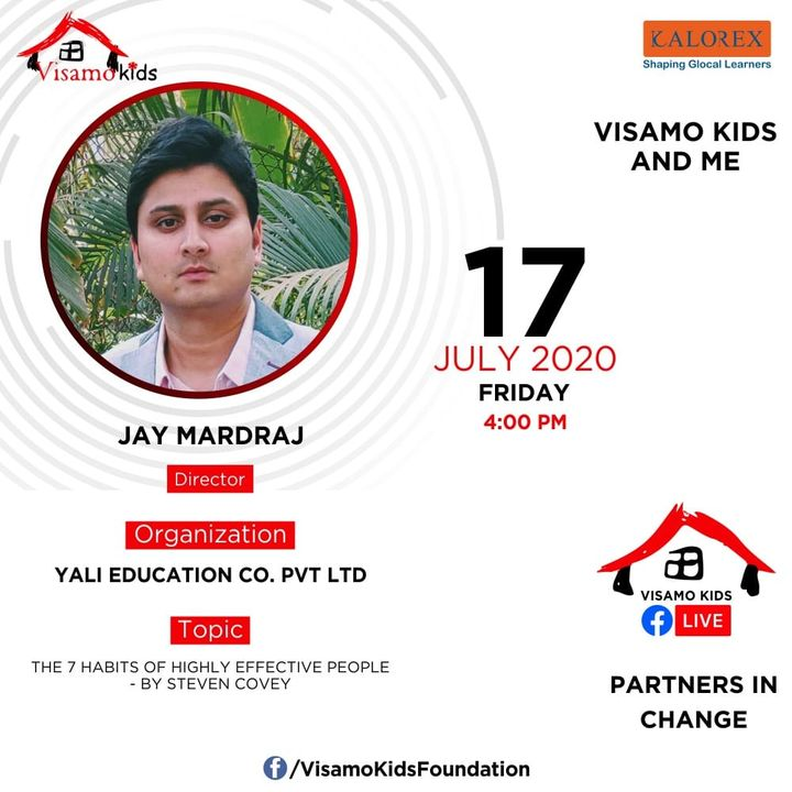 Visamo Kids Foundation - A shelter home in Bopal, Ahmedabad, housing underprivileged kids selected from across the state, brings to you all, a series of powerful talks by Visamo Parivaar. Visamo Speak Series Episode No. 47 is on Friday, 17 July 2020 Time: 4 pm Live on https://www.facebook.com/VisamoKidsFoundation Speaker: Mr. Jay Mardraj, Director, Yali Education Co.Ltd.  #VISAMO #VKF #Education #ShareWithPride #Empowerment #VisamoSpeakSeries #PartnersInchange #Kalorex #RTE #PartnershipsMatter #collaboration