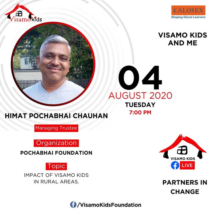 Visamo Kids Foundation - A shelter home in Bopal, Ahmedabad, housing underprivileged kids selected from across the state, brings to you all, a series of powerful talks by Visamo Parivaar.  Visamo Speak Series Episode No. 65 is on Tuesday, 4 August Live on https://www.facebook.com/VisamoKidsFoundation Speaker: Mr. Himat Pochabhai Chauhan  Please do join the talk. #VISAMO #VKF #Education #ShareWithPride #Empowerment #VisamoSpeakSeries #PartnersInchange #Kalorex #RTE #PartnershipsMatter #collaboration #COVID19 #newnormal #NGO #impact