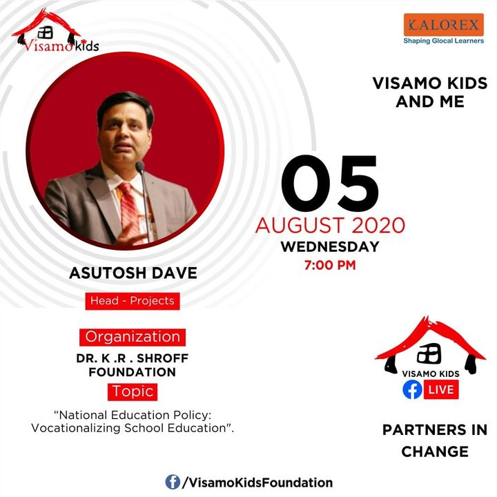 Visamo Kids Foundation - A shelter home in Bopal, Ahmedabad, housing underprivileged kids selected from across the state, brings to you all, a series of powerful talks by Visamo Parivaar.  Visamo Speak Series Episode No. 66 is on Wednesday, 5 August Live on https://www.facebook.com/VisamoKidsFoundation Speaker: Mr. Asutosh Dave, Head Projects, Dr. K. R. Shroff Foundation.   Please do join the talk. #VISAMO #VKF #Education #ShareWithPride #Empowerment #VisamoSpeakSeries #PartnersInchange #Kalorex #RTE #PartnershipsMatter #collaboration #COVID19 #newnormal #NGO #Impact