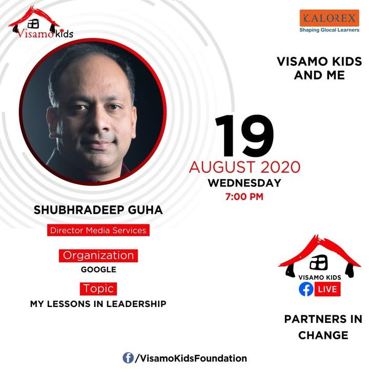 Visamo Kids Foundation - A shelter home in Bopal, Ahmedabad, housing underprivileged kids selected from across the state, brings to you all, a series of powerful talks by Visamo Parivaar.  Visamo Speak Series Episode No. 80 is on Wednesday, 19 August at 7 PM Live on https://www.facebook.com/VisamoKidsFoundation Speaker: Mr. Shubhradeep Guha  Please do join the talk. #VISAMO #VKF #Education #ShareWithPride #Empowerment #VisamoSpeakSeries #PartnersInchange #Kalorex #RTE #PartnershipsMatter #collaboration #COVID19 #newnormal #NGO #Impact #google #mediaservices #shubhradeepguha