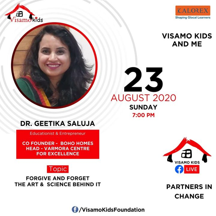 Visamo Kids Foundation - A shelter home in Bopal, Ahmedabad, housing underprivileged kids selected from across the state, brings to you all, a series of powerful talks by Visamo Parivaar.  Visamo Speak Series Episode No. 84 is on Sunday, 23 August at 7 PM Live on https://www.facebook.com/VisamoKidsFoundation Speaker: Dr. Geetika Saluja  Please do join the talk. #VISAMO #VKF #Education #ShareWithPride #Empowerment #VisamoSpeakSeries #PartnersInchange #Kalorex #RTE #PartnershipsMatter #collaboration #COVID19 #newnormal #NGO #Impact #bohohome
