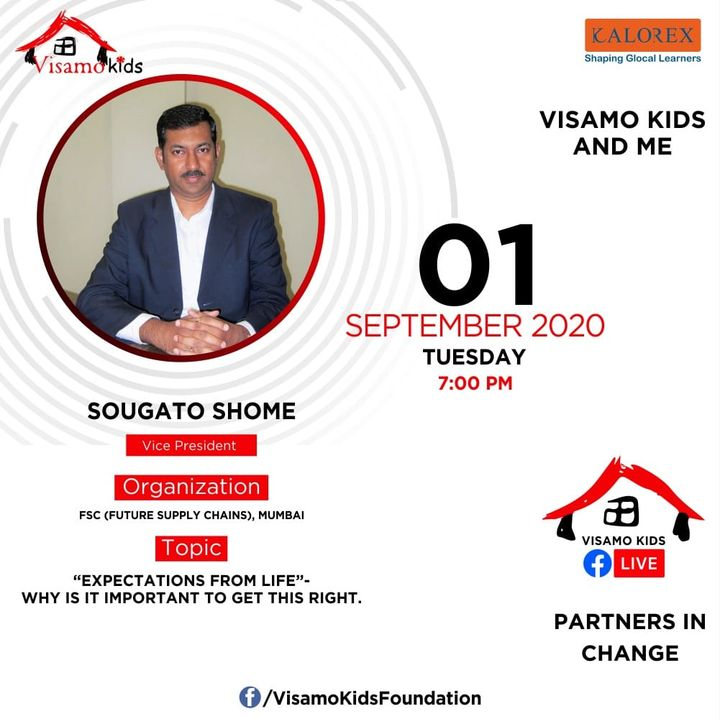 Visamo Kids Foundation - A shelter home in Bopal, Ahmedabad, housing underprivileged kids selected from across the state, brings to you all, a series of powerful talks by Visamo Parivaar. Visamo Speak Series Episode No. 93 is on Tuesday, 1 September at 7PM Live on https://www.facebook.com/VisamoKidsFoundation Speaker: Mr. Sougato Shome Please do join the talk. #VISAMO #VKF #Education #ShareWithPride #Empowerment #VisamoSpeakSeries #PartnersInchange #Kalorex #RTE #PartnershipsMatter #collaboration #COVID19 #newnormal #NGO #Impact #sougatoshome