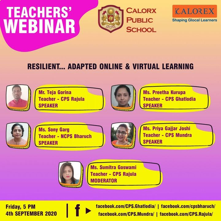 Join us today at 5:00 pm as our dear Teachers take you through their Journey of online and Virtual Learning ! Some real people & their real stories !   #Kalorex #CPS #remotelearning #cps #students #Calorx #parents #words #ahmedabad  #Teachers #Challenges #solutions #teachersday2020