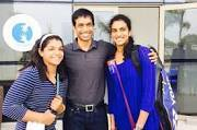 Coach Gopichand : Flanked by the 2 women who made 1 billion Indians proud. Saved the medal starved country.  Kudos to the Champions.