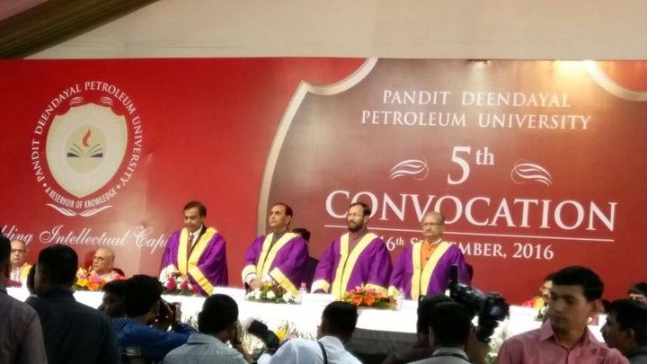 The High Power 5th PDPU Convocation : Hon CM of Gujarat, Central HRD Minister, State Education Minister & Mukesh Ambani.  Stellar work in less than a decade. Kudos PDPU