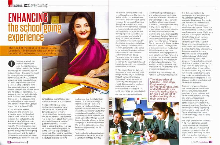 Talking about 'Enhancing the school going experience' in the latest issue of Brainfeed magazine.  #Brainfeed #Edupreneur #ShapingGlocalLearners