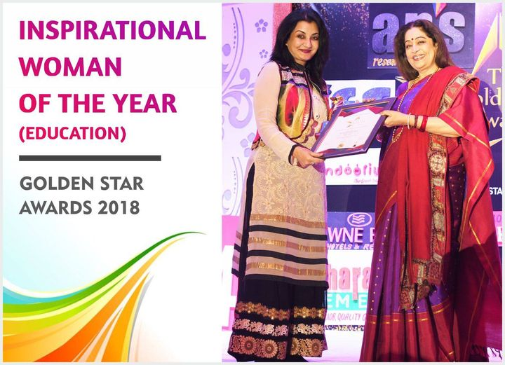 Received the coveted Inspirational Woman of the Year (Education) award from Kirron Kher at the Golden Star Awards 2018 held at Delhi. #MPS #Edupreneur