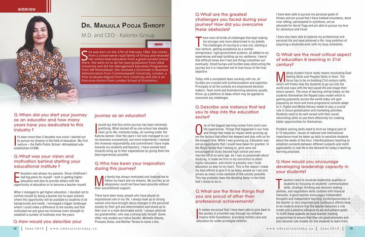 In an exclusive interview with EducationToday.co magazine.  #MPS #Kalorex #Edupreneur