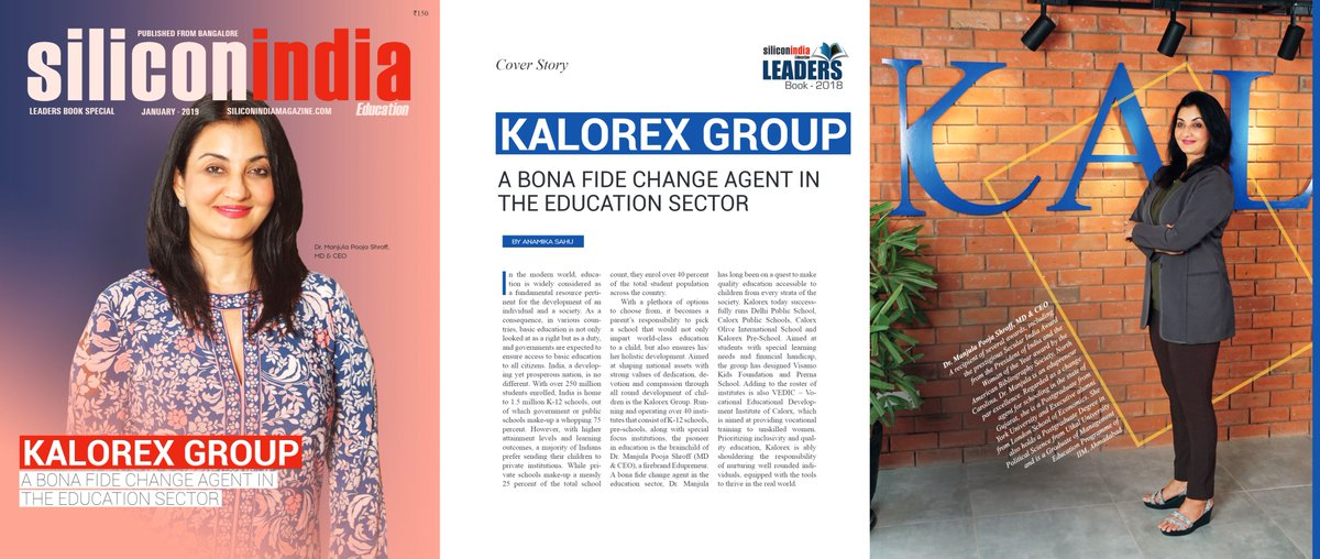 On the cover of the special Leaders Book 2018 of @SiliconindiaMag.  Read the full cover story about @kalorex here: https://t.co/Y7aAgjHsIy #MPS #Edupreneur #SiliconIndia #Kalorex #education https://t.co/BvoVUivxpp