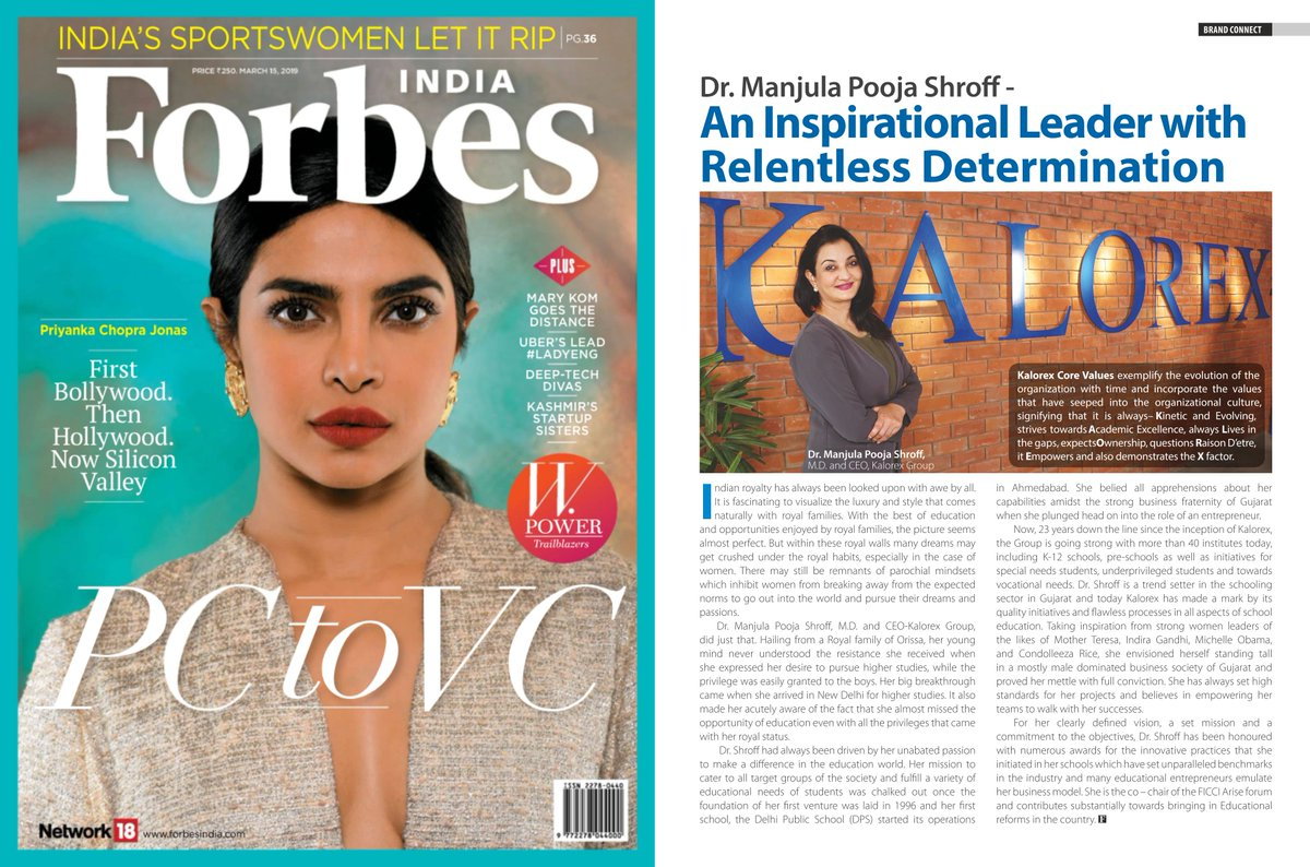 Featured in the W-Power Trailblazers issue of @forbes_india magazine. #MPS #Edupreneur #Forbes #Trailblazers #Kalorex https://t.co/527nvuE2FT
