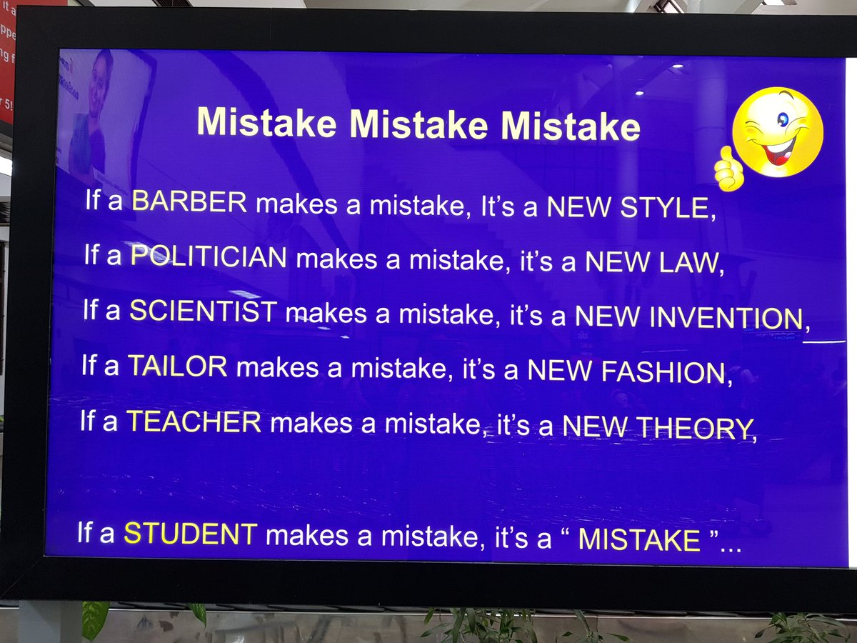 Caught this at an airport screen. How true...we come down so heavily on children's mistakes #Students #examresults https://t.co/iTcJE4tjkJ