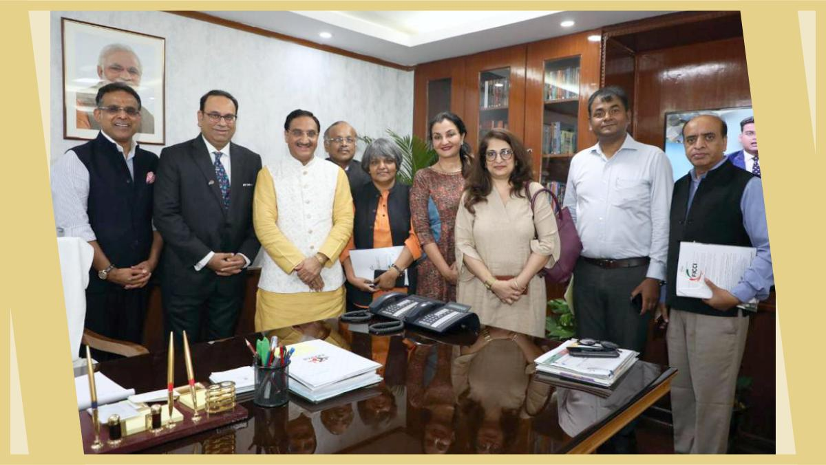 The @FICCIArise delegation meets Dr. Ramesh Pokhriyal Nishank, Union Minister - Ministry of Human Resource Development, Government of India. #MPS #FICCI https://t.co/rHA0OKQ3jc