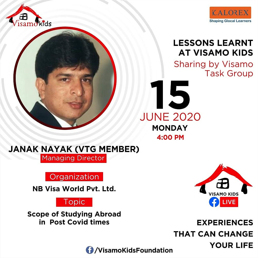 Visamo Kids Foundation- A shelter home in Ahmedabad, housing underprivileged kids across the state, brings to you all, VTG Talk, a series of powerful talks by Visamo task Group (VTG) members.   Topic: Scope of Studying Abroad in post Covid times. https://t.co/nOupc1ndAq