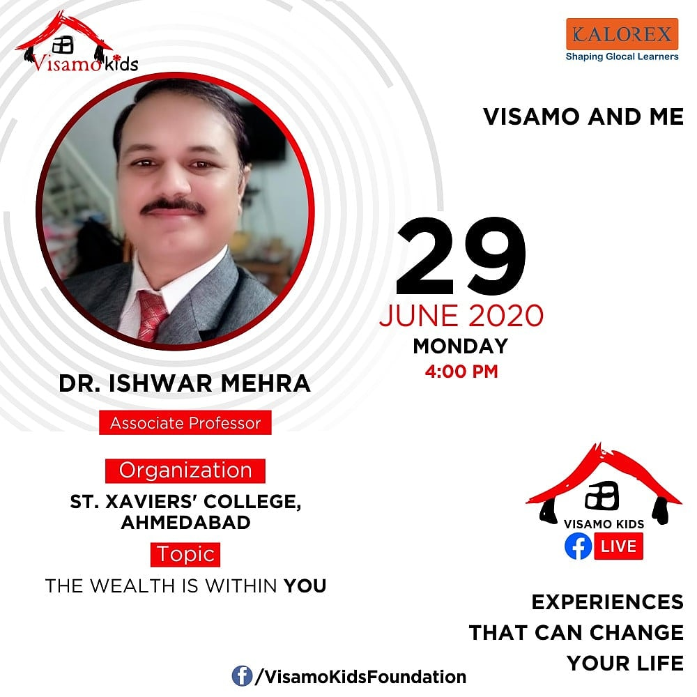 Visamo Kids Foundation- A shelter home in Ahmedabad, housing underprivileged kids across the state, brings to you all, Mentors' Talk, a series of powerful talks by Visamo Mentors.   Speaker: Prof. Dr. Ishwar Mehra #education #ShareWithPride #empowerment #VisamoSpeakSeries https://t.co/0yBdeDW8YO