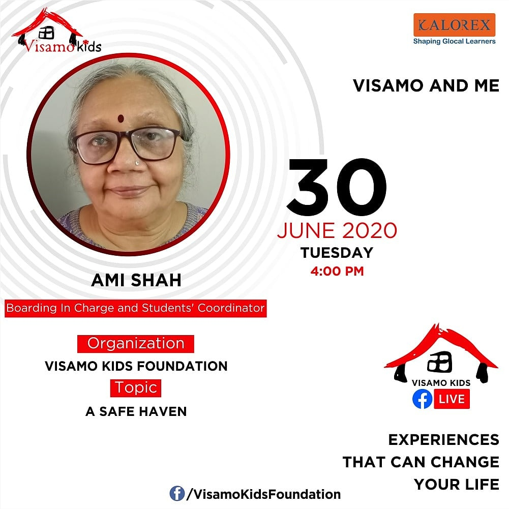 Visamo Kids Foundation- A shelter home in Ahmedabad, housing underprivileged kids across the state, brings to you all, a series of powerful talks by Visamo Parivaar. Speaker: Ami D.Shah  Topic- Visamo- A Safe Haven #education #ShareWithPride #empowerment #VisamoSpeakSeries https://t.co/fhDyNJI4vZ