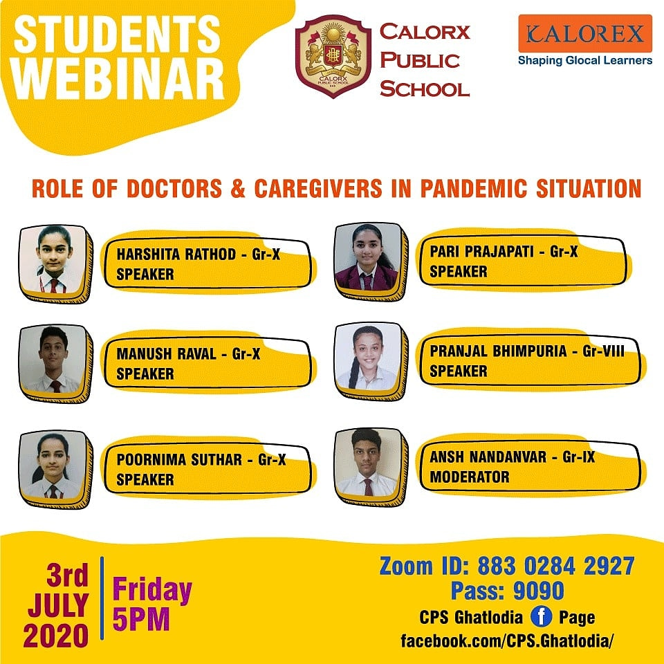 CPS has been successfully hosting FB live sessions upto the month of June '20. Speakers.                                                                    The first of the series  - 3rd July 2020, with Students Webinar.   #CPS #Kalorex #Pupils #Students #Webinars #Parents https://t.co/92CtiSoxOU