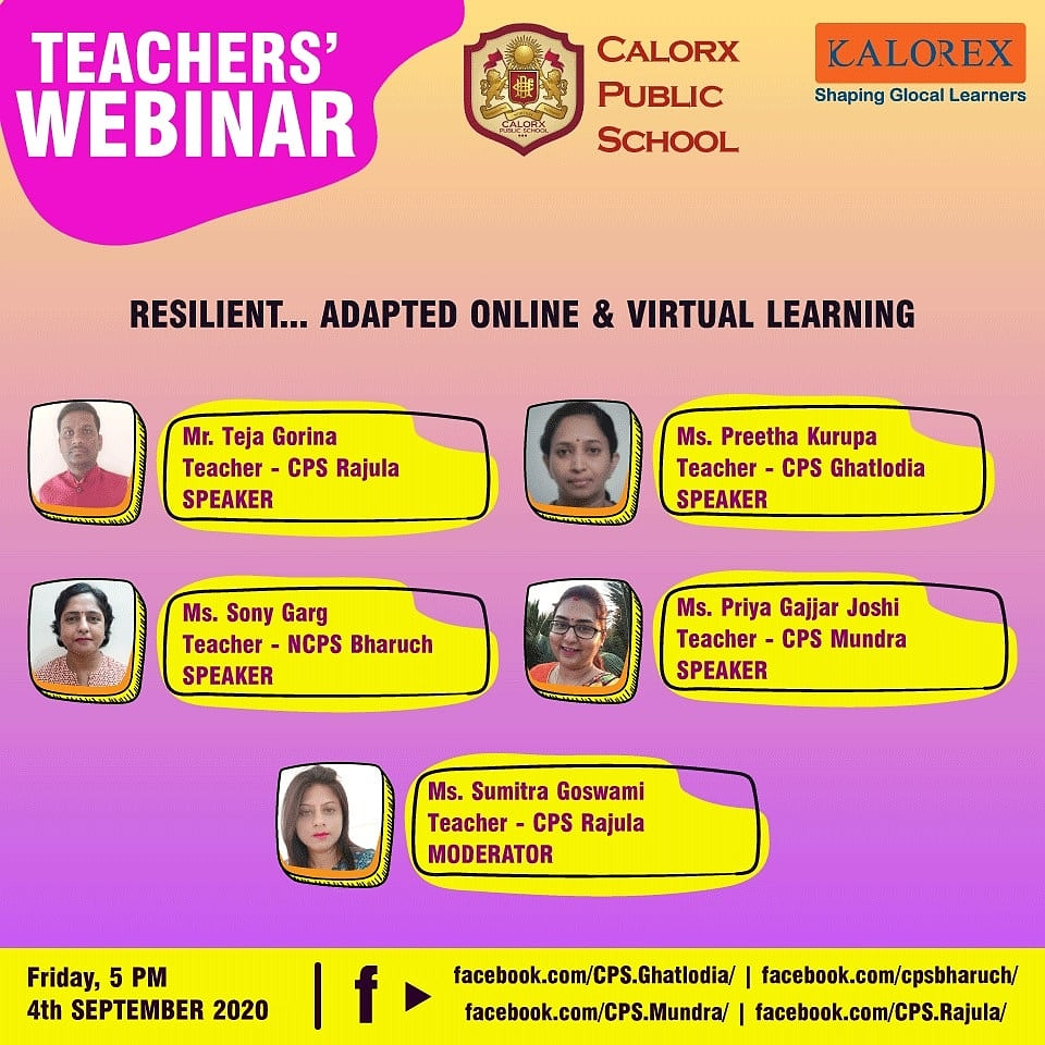 Join us today at 5:00 pm as our dear Teachers take you through their Journey of online and Virtual Learning ! Some real people & their real stories !   #Kalorex #CPS #remotelearning #cps #students #Calorx #parents #words #ahmedabad  #Teachers #Challenges #solutions #TeachersDay https://t.co/VHuIkjnqHz