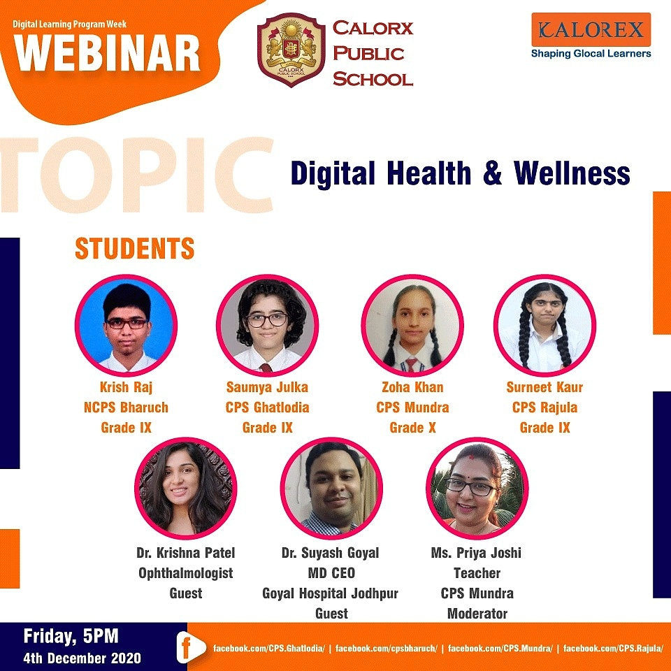 Webinar on Digital Health and Wellness.  Do tune in at 5 pm to hear our students and doctors interact with each other  to explain physical and psycho-social well-being in the current technological world.  #CPS #Mundra #Bharuch #Ghatlodia #Rajula, #Doctors #Student #Kalorex https://t.co/HenZWmmRNe