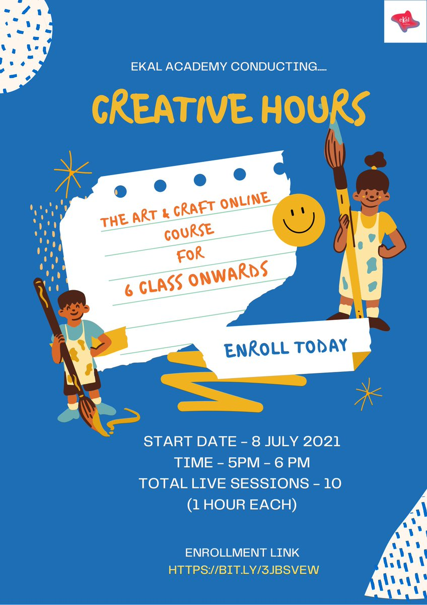 Ekal Academy invites: The course is designed for 6 grade onwards students. Start date: 8th July 2021 Timing: 5:00-6:00 PM Days: Tuesday, Thursday, Saturday. Total live session: 10 hrs. (1hrs each) Course Fees - 1550/-  Link - https://t.co/VQgNfEg6j4 #ekal #ekalacademy #Kalorex https://t.co/qlchjsg7Yd