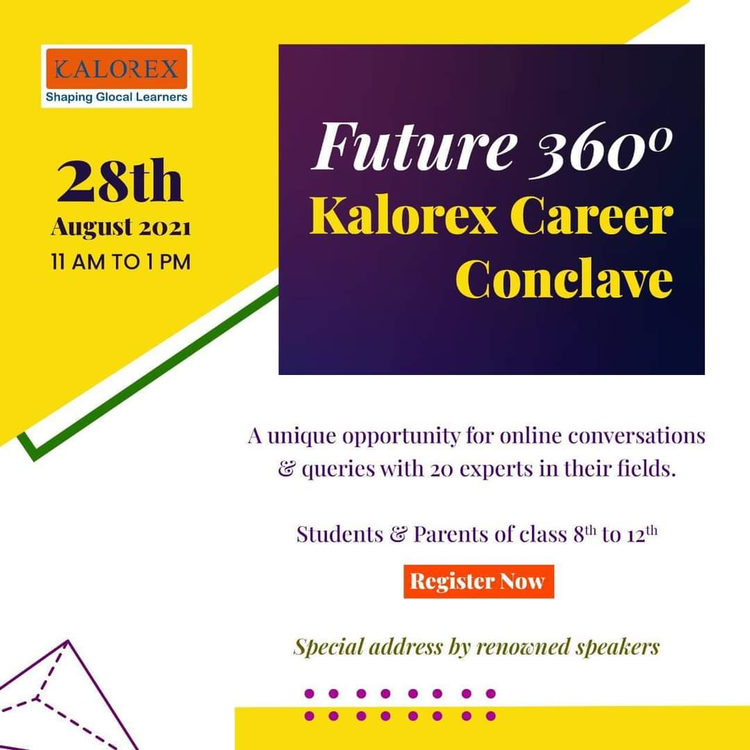 Kalorex Group invites registrations for parents, students and other stakeholders for an Online Career Conclave.   Register Now - https://t.co/bwBOo6mAgw  #Career #Future #planning #academics #education #experts #industry #online #kalorex #careerconclave #MPS https://t.co/qfZZvsFTwU