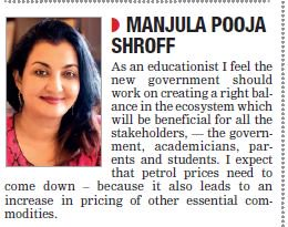 RT @AhmedabadTimes: Here is what educationist Manjula Pooja Shroff expects from the new government in the state. https://t.co/YUEEqzMCHJ
