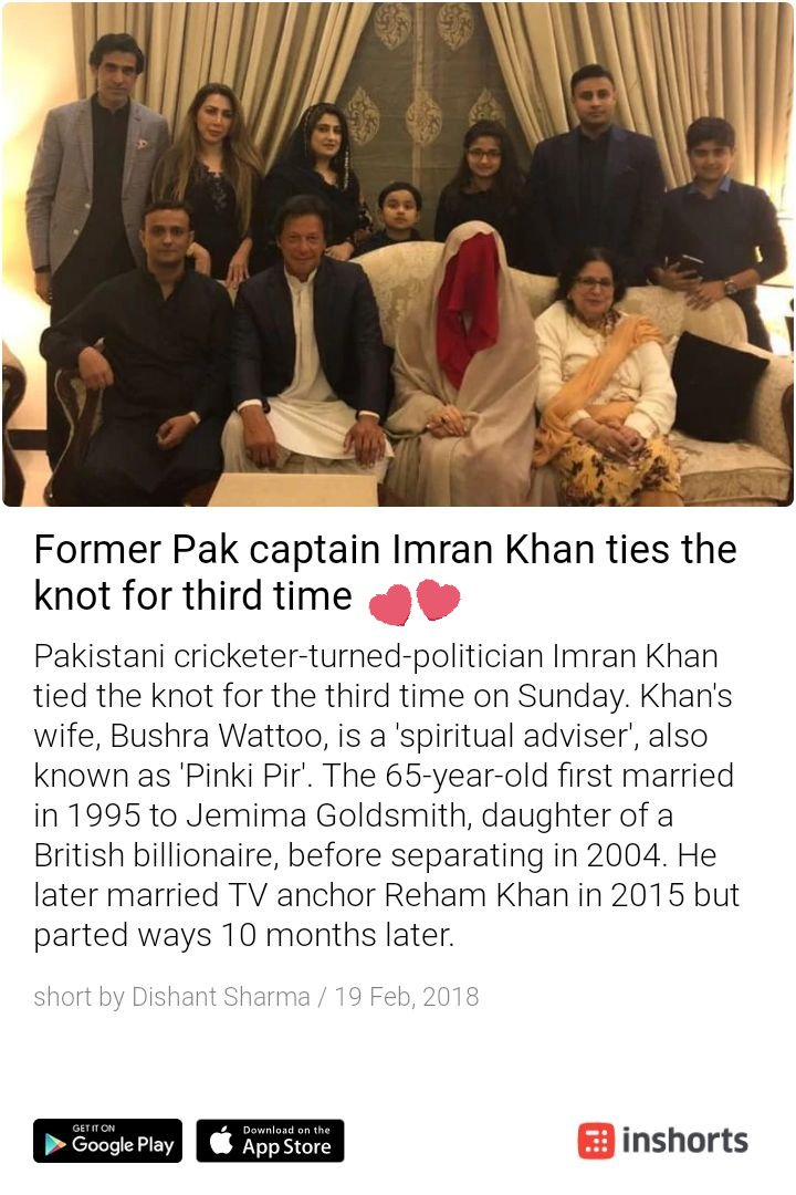 #ImranKhan #3rdtimelucky..... Kudos for your unfailing faith in the institution of marriage. https://t.co/Y9bwNp43zv